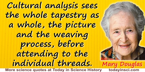 Mary Douglas quote: Our ultimate task is to find interpretative procedures that will uncover each bias and discredit its claims