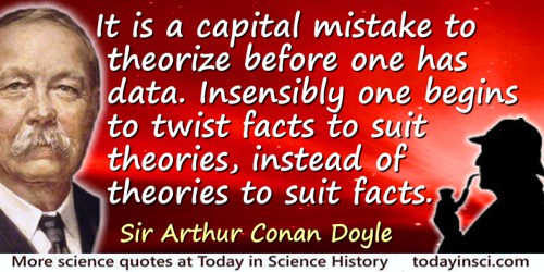 Arthur Conan Doyle quote: It is a capital mistake to theorize before one has data. Insensibly one begins to twist facts to suit