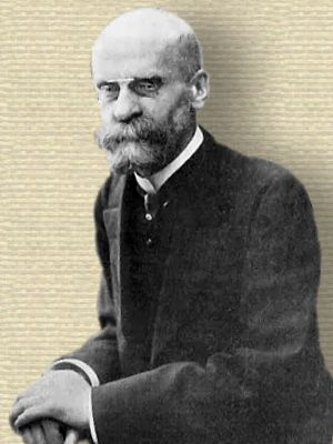 Photo of Emile Durkheim, seated, upper body, facing forward