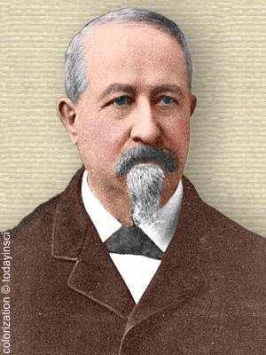 Phot of Clarence Edward Dutton, head and shoulders, colorization © todayinsci.com