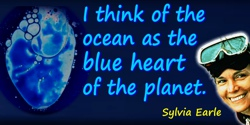 Sylvia A. Earle quote: I think of the ocean as the blue heart of the planet. Well, how much of your heart do you want to protect