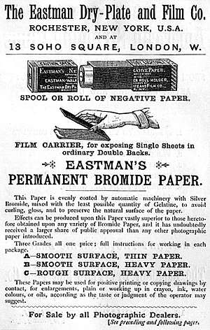 Eastman Dry Plate & Film Company, Advertisement (1887) for bromide paper