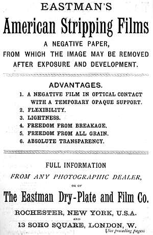 Eastman Dry Plate & Film Company, Advertisement (1887) for stripping films