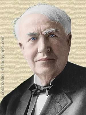 Thomas Edison - head and shoulders - colorization © todayinsci.com