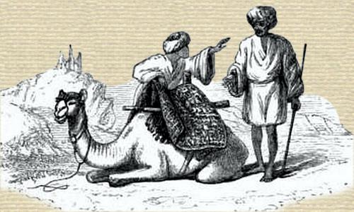 Line art of two men beside a camel with rug over saddle. The camel is knelt to the ground.