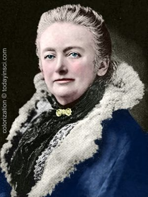 Photograph of Amelia Blanford Edwards. Colorization © todayinsci.com