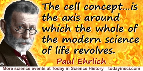 Paul Ehrlich quote: The history of the knowledge of the phenomena of life and of the organized world can be divided into two mai