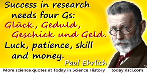 Paul Ehrlich quote: Success in research needs four Gs: Glück, Geduld, Geschick und Geld. Luck, patience, skill and money.