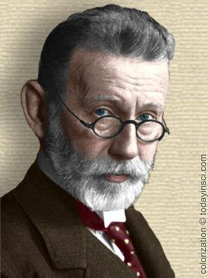 Photo of Paul Ehrlich, head and shoulders, facing front. Colorization added by todayinsci.com