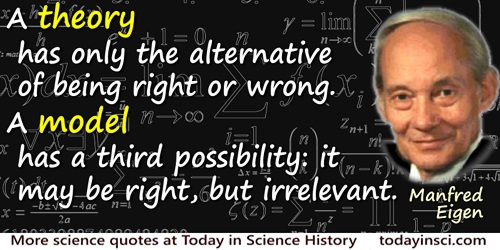 Manfred Eigen quote: A theory has only the alternative of being right or wrong. A model has a third possibility: it may be right