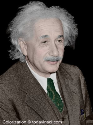 Color picture Albert Einstein - head and shoulders (1 Oct 1940)