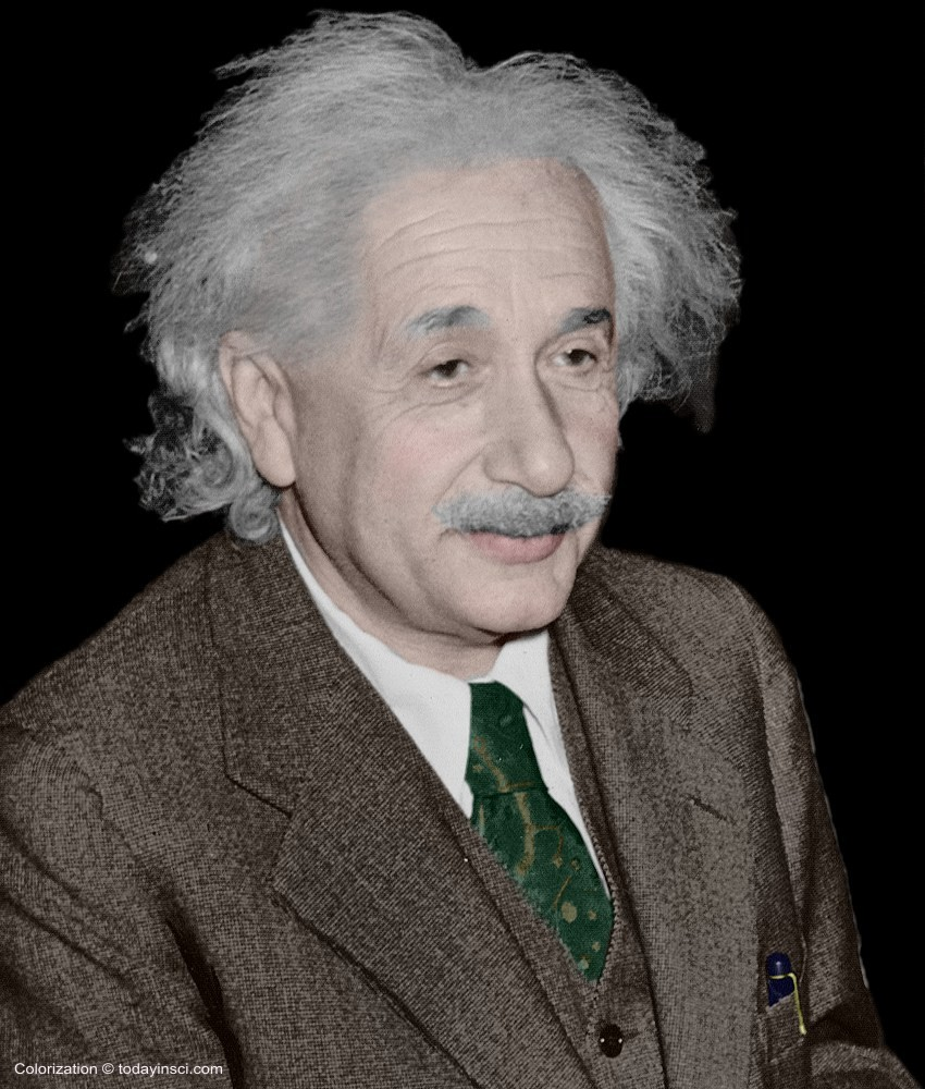 Large color picture Albert Einstein - head and shoulders (1 Oct 1940)