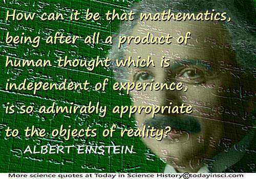 Albert Einstein quote �Mathematics�a product of human thought� + Einstein notebook mathematics + Einstein face