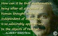 """Albert Einstein quote """"Mathematics…a product of human thought"""" + Einstein notebook mathematics + Einstein face"""