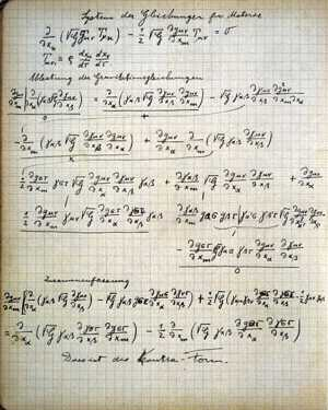 A page from Albert Einstein's Zurich notebook, covered with mathematical equations