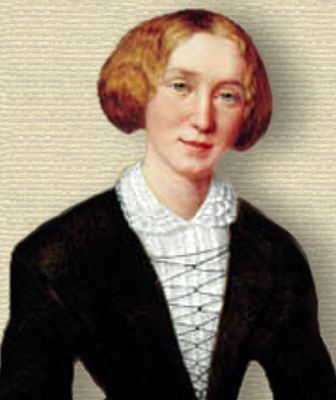 Painting of George Eliot, upper body, facing forward