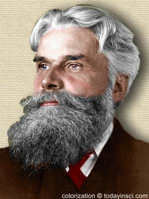 Photo of Havelock Ellis, head and shoulders facing right. Colorization (only) © todayinsci.com