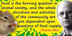 Charles Elton quote: Food is the burning question in animal society, and the whole structure and activities of the community are
