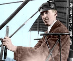 Eugene Ely in pilot seat of his aircraft