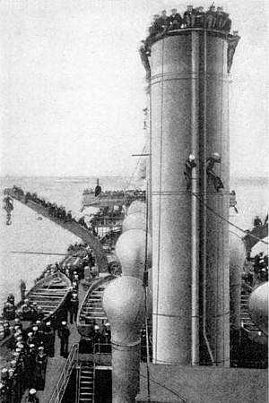 """Crew of """"Pennsylvania"""" Climbed Even to the Tops of the Funnels to Witness Ely's Feat"""