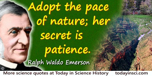Ralph Waldo Emerson quote: Adopt the pace of nature; her secret is patience.
