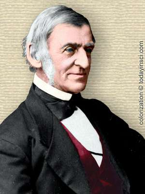 Photo of Ralph Waldo Emerson, upper body, facing right, colorization © todayinsci.com