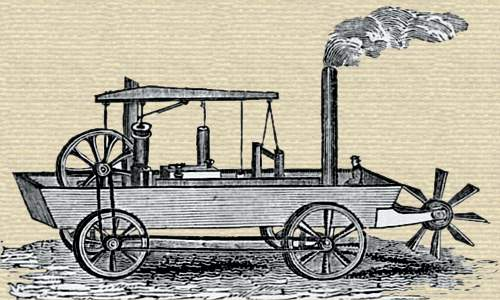 Wood engraving of steam engine aboard a flat boat. The boat has a stern paddle wheel and four land wheels driven by the engine