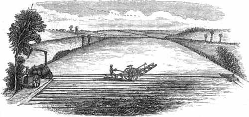 Drawing of Fowler's steam-plow in mid-field being drawn from side to side, powered ropes driven by a steam engine at one side