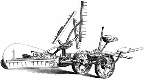Drawing of the American Self-Raking Reaper machine