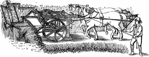 Drawings of Bell's reaping machine being pushed ahead of two horses into the crop to be cut.