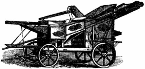 Drawing of the American threshing machine.