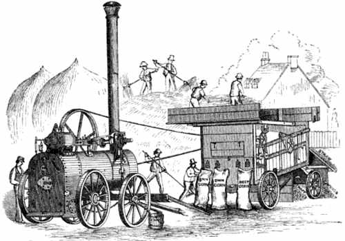 Drawing of steam engine driving thresher with crops tossed into the top and grain sacks filling at several bottom ports.