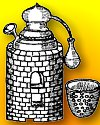 Old drawing of alchemical vessels in furnace for distillation.