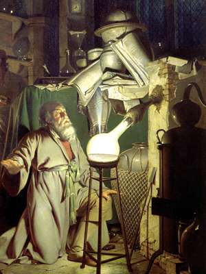 Detail from painting: Alchemist Discovering Phosphorus. An alchemist kneels to observe a glowing flask of vapours from a retort