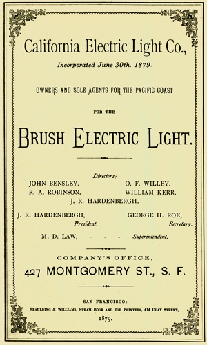 Cover Of California Electric Light Co Circular. Company Name At Top Is  Slightly Smaller Than
