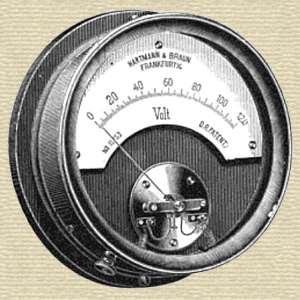 Voltmeter from catalog of Hartmann und Braun, Bockenheim-Frankfurt (1894)