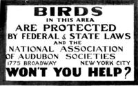 Sign - Birds in this area are protected by Federal and State Laws