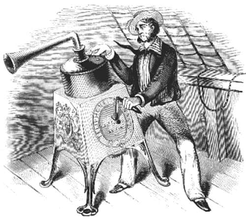 "Engraving of the ""Telephone"" foghorn operated by a sailor aboard a ship."