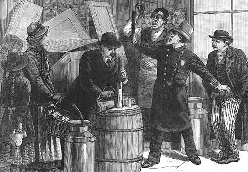 Engraving of a New York City inspector at a grocery store testing milk with a lactometer, c.1887