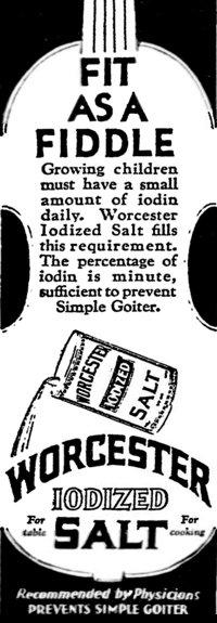 Newspaper advertisement for iodized salt (Nov 1929).