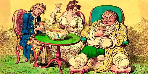 Caricature three jolly people seated around punch bowl on table, drink in hand. A stout man has one bandaged hand and both feet