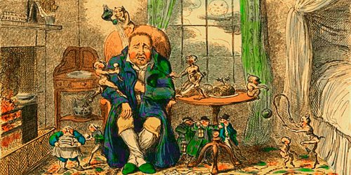 Caricature of a man, seated fireside in his housecoat, groaning, hand on stomach, surrounded by imps showing his gluttony