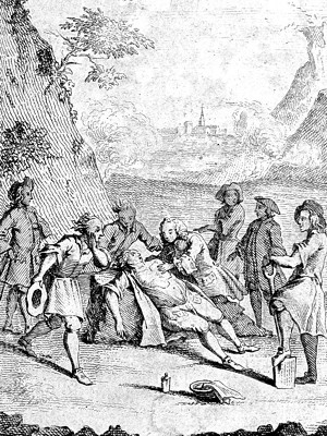 Engraving artist impression artificial respiration by W. Tossach 11 Nov. 1732, group of men outdoors, around semi-prone casualty