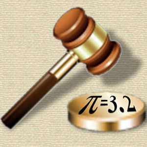 Law gavel striking pi = 3.2 as proposed in Indiana Pi Bill of 1897