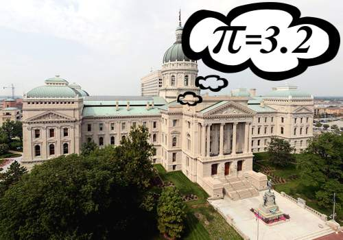 Photo of Indiana State Capitol showing π=3.2 as proposed in Indiana Pi Bill of 1897