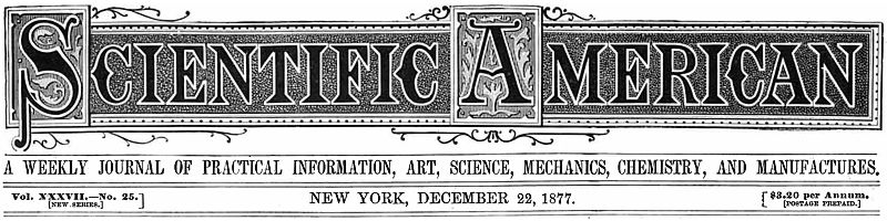 Scientific American logo 22 Dec 1877 issue