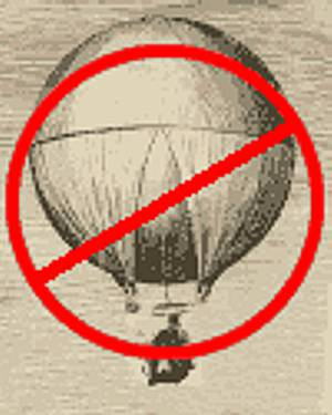 Graphic showing old print of a hot air balloon with red circle and diagonal bar superimposed