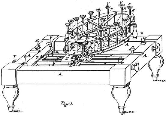 Line drawing of a metal frame with legs supporting a horizontal wheel carrying vertical type plungers above paper on roller