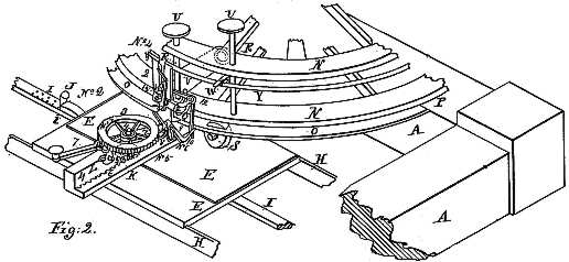 Figure 2 is a Line drawing showing more detail of a section of the machine