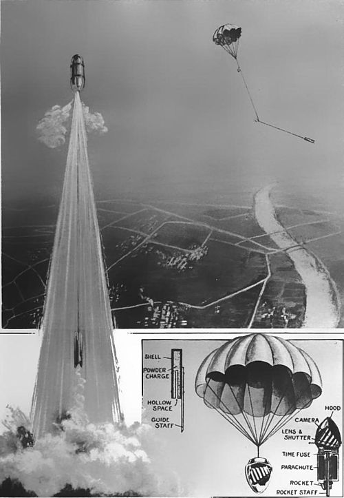 Montage: Aerial photo taken from a rocket, a rocket being launched and a schematic of how the rocket works.